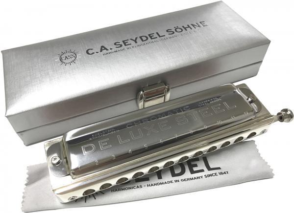 Seydel ( サイドル ) De Luxe STEEL クロマチックハーモニカ ステンレスリード  2穴 明 オレンジ 樹脂ボディ デラックス スチール ドイツ製 54480C