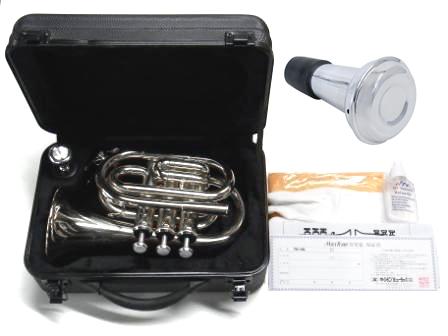 MAXTONE ( マックストーン ) TM-100N ポケットトランペット 新品 管楽器 ミニ トランペット シルバー 楽器 pocket mini Trumpet セット A