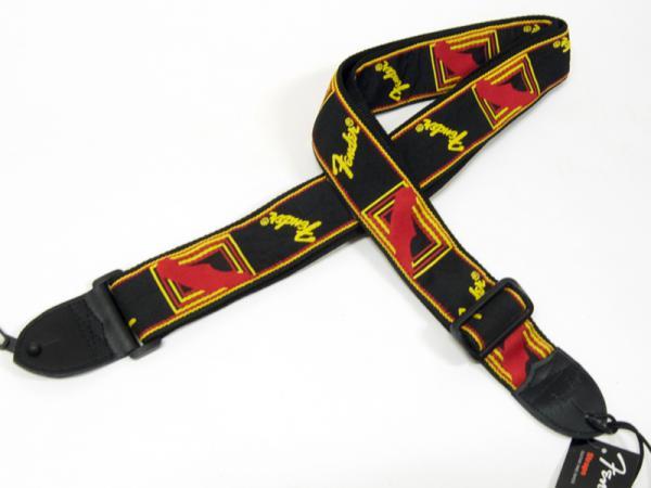 Fender ( フェンダー ) Monogrammed  Strap(Black/Yellow/Red) 【在庫限りモノグラム ギター・ベース  ストラップ 】
