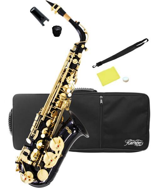 送料無料 ブラック アルトサックス オリジナル カラー サックス 楽器 本体 ケース セット 初心者 管楽器 スタンダード E♭ 【 アルトサクソフォン 黒色 】