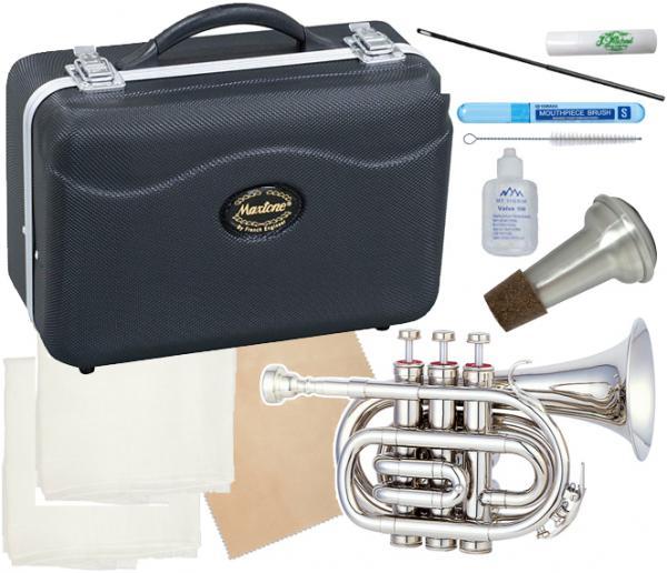 MAXTONE ( マックストーン ) TM-100N ポケットトランペット 新品 管楽器 ミニ トランペット 管体 シルバーカラー pocket Trumpet silver 【 TM100N セット C】