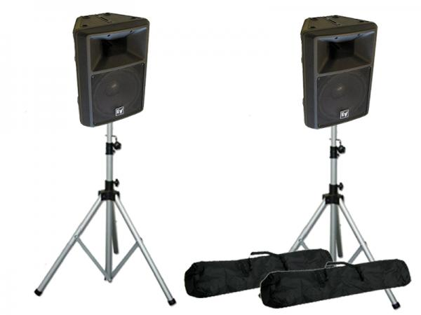 Electro-Voice ( EV エレクトロボイス ) SX300 B/黒  2台とスピーカースタンド K306 シルバー 1ペア セット ◆ スタンドケース付