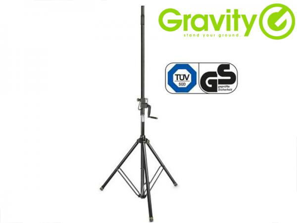 Gravity ( グラビティー ) GSP4722B (1本)  ◆ ハンドクランク付 スピーカースタンド  Wind Up Speaker Stand