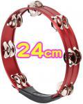【 アルミタンバリン 24cm レッド 】 丸型 アルミ製 10インチ タンバリン パーカッション 赤色