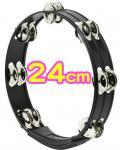 【 アルミタンバリン 24cm ブラック 】 丸型 アルミ製 10インチ タンバリン パーカッション 黒色