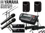 YAMAHA ( ヤマハ ) STAGEPAS600BT AKGワイヤレスマイク2本とマイクスタンド2本 スピーカースタンド セット (K306S/ペア)