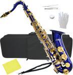 送料無料 テナーサックス ブルー 新品  管楽器 本体 青色 カラー サックス ケース マウスピース セット 初心者 楽器 テナーサクソフォーン 【 T-90 BLUE 】