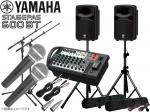YAMAHA ( ヤマハ ) STAGEPAS600BT マイク2本とマイクスタンド2本 スピーカースタンド  (K306B/ペア)