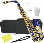 送料無料 アルトサックス ブルー オリジナル カラー サックス 楽器 本体 ケース セット 初心者 管楽器 alto sax saxophone blue 【 a-50 青色 】