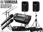 YAMAHA ( ヤマハ ) STAGEPAS600BT AKGワイヤレスマイク2本とマイクスタンド2本 スピーカースタンド セット (K306S/ペア)  ◆ PAシステム