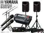 YAMAHA ( ヤマハ ) STAGEPAS600BT AKGワイヤレスマイク2本とマイクスタンド2本 スピーカースタンド セット (K306B/ペア)
