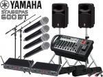 YAMAHA ( ヤマハ ) STAGEPAS600BT ワイヤレスハンドマイク4本、MICスタンド2本、キャリングケース、SPスタンド付き(K306S/ペア) セット