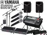 YAMAHA ( ヤマハ ) ケースプレゼント中 ! STAGEPAS600BT ワイヤレスハンド3本タイピン1本 マイクスタンド2本 スピーカースタンド(K306S) セット