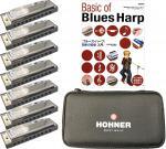 HOHNER ( ホーナー ) ブルースハーモニカ 7本 + ケース + 教本 10穴 樹脂ボディ ブルースハープ 型 ハープ C調 D調 E調 F調 G調 A調 B♭調 【 ブルースバンド 楽譜 セット 】
