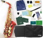 送料無料 レッド アルトサックス オリジナル カラー サックス 楽器 本体 ケース セット 初心者 管楽器 スタンダード E♭ 【 アルトサックス 赤色 セット C 】