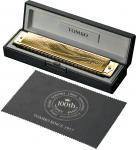 TOMBO ( トンボ ) No.CD100 複音ハーモニカ 21穴 C調 ゴールド 楓材 木製ボディ 100周年 限定モデル 日本製 ハーモニカ 楽器 金メッキ トレモロ  一部送料追加