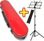 CCシャイニーケース フルートケース レッド 譜面台 ハードケース フルート用 ショルダー カバー 管楽器 ケース C管 H管 赤色 【 CC2-FL-RD セット E】