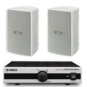 YAMAHA ( ヤマハ ) VS4W  ホワイト (1ペア) + PA2030a  小規模店舗 BGMセット  屋内/野外対応
