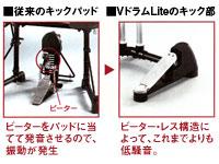 床への振動を抑えるビーター・レス構造。